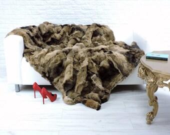 Luxury genuine rabbit fur throw, blanket, natural colour, 205cm x 150cm, i864