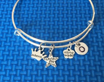 Princess Initial Bracelet, hand stamped Initial Bracelet, Princess Bangle, gift for her, gift for little girl, Just for you charm CP71