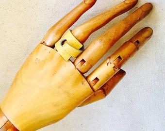 Vinyl Laminate Ring in Yellow gold size 6.5- Repurposed vinyl Ring