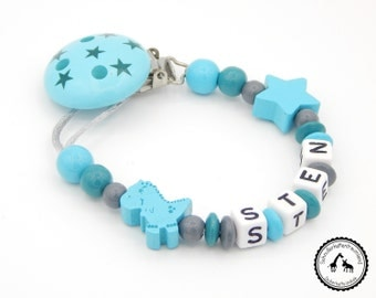 Dummy named - Dino/star in grey/turquoise/teal with motif clip star - new - individually - many motifs