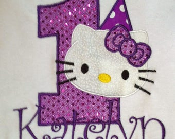 Purple Hello Kitty 5th Birthday Shirts Personalized