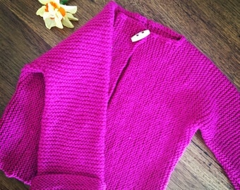 Fuscia hand knitted cardigan