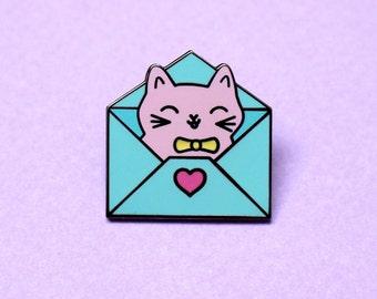 Envelope cat Lapel pin Enamel cat pin Enamel pin cat Cute cat pin Enamel pin Pastel pin Cute pin Envelope pin Kawaii cat Kawaii enamel pin