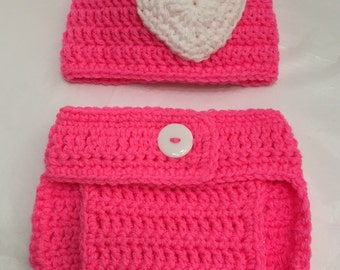Crochet Hat and Diaper Cover, Newborn Set, Baby Diaper Cover Set