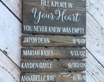 Grandchildren Fill A Place In Your Heart You Never Know Was Empty, Grandchildren Sign, Grandparents Sign, Grandchildren Name Sign