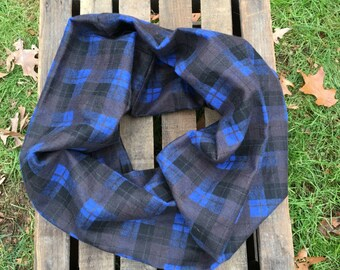 Blue and Black Plaid Infinity Scarf