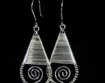 Silver earrings, drop shape spiral to the center uniform woven, for her, eclectic