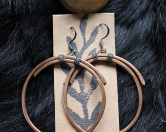 handmade copper hoops