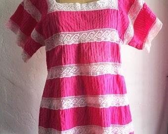 1970s Vintage BOHO Ethnic Festival Hot Pink Cotton Crochet MEXICAN Wedding Mini Dress