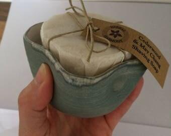 Shaving Set with Handmade Ceramic Shaving Bowl in Blue/Grey