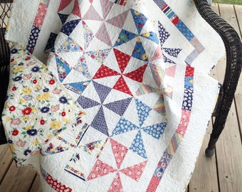 "Pinwheel baby quilt - red, navy, yellow 48"" x 56"""