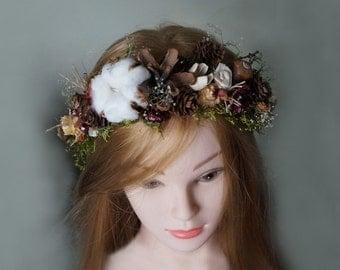 Tiara Winter Wedding Dried Flower Crown wedding wreath pine cones cotton flowers Headband Bridal Crown Rustic Headband Floral Head Wreath