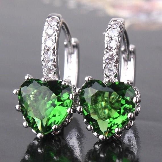 Lovely handmade 18ct white gold plated emerald crystal heart shaped earrings for pierced ears