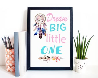 "Typography A4 Print on Paper ""Dream Big Little One"" Watercolour Quotes,  Modern Wall Art, Nursery Home Decor Unframed"