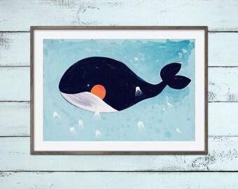 Walfisch Print A2 Illustration Malerei Wal mit kleinen weißen Quallen Ozean Meer für Kinderzimmer Badezimmer