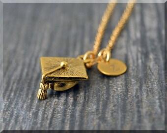 Gold Graduation Cap Charm Necklace, Initial Charm Necklace, Personalized, Grad Pendant, Graduate Jewelry, Monogram Graduate Necklace