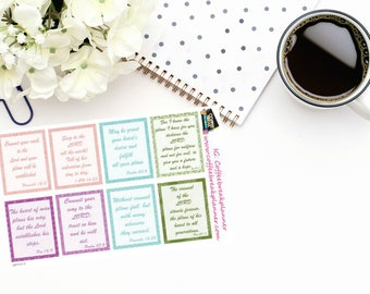 Planner Stickers |Full Box Scripture Stickers| Bible Scripture Stickers for your planner or journal|RB003-V