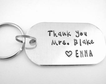 Teacher Gift, Personalized Coach Gift, Hand Stamped Aluminum Name Keychain, Custom Thank You Keyring, Teacher Appreciation