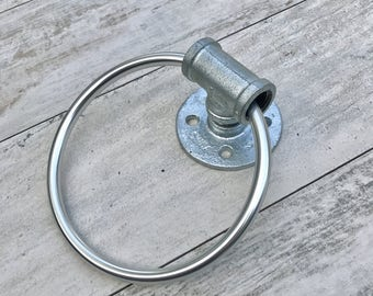 Industrial, Modern, Handmade Hand Towel Ring, Bathroom Decor, Towel Ring, Pipe Bathroom, Kitchen, Gift