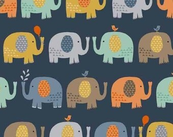 Baby Jungle in Elephants BLUE from Makower UK  - 1/2 Yard