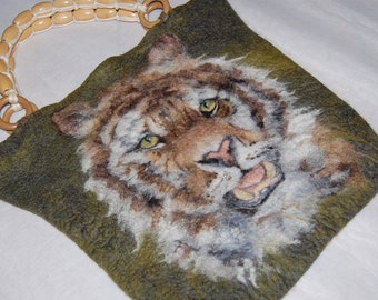 Felt bag, merino wool, gersimifelt handbag, tiger