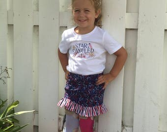 Girls patriotic ruffle skirt, fourth of July skirt, Independence day skirt, red white and blue skirt