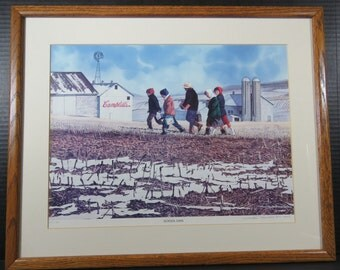 "Campbell's Soup Art Framed Print Don Patterson Watercolor Signed Numbered Limited Edition Lithograph ""School Days"""