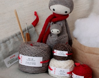 KIRA the Kangaroo - DIY Crochet Kit, lalylala original materials, amigurumi kit set, crochet material set, Oh My Yarn, crocheter gift