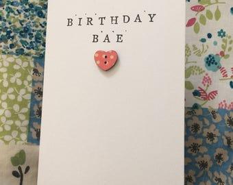 Handmade shabby chic birthday bae greeting card