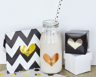 24 Personalized Gold & Silver Foil Heart Stickers - 24 pieces