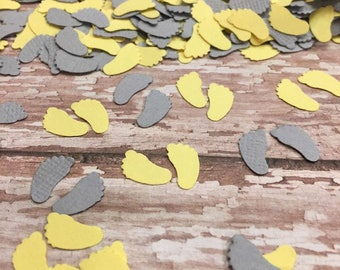 Gender Reveal Shower, Baby Confetti, Yellow Grey Confetti, Baby Feet Confetti, Gender Neutral,  Baby Shower Decor, Table Confetti Sprinkle