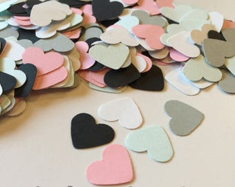 Wedding Confetti, confetti hearts, pink black mint white heart confetti, shower decorations, 1st birthday confetti, table sprinkle, baby