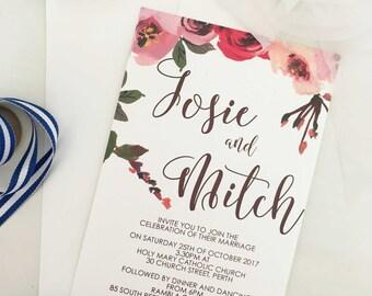 Wedding Invitation Digital Download, Wedding Invitation Floral, Wedding Invite Template, Summer Wedding Invitation, Template Floral, Invites