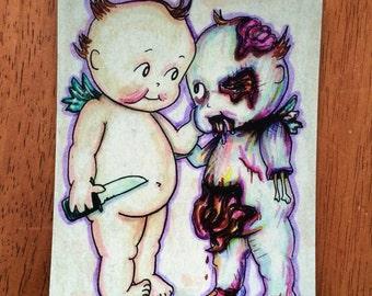 Best friends Kewpie zombie magnet