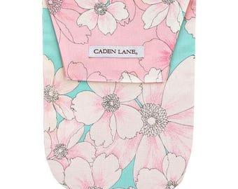 15% OFF SALE - Lola's Floral | Aqua and Pink Diaper and Wipe Holder