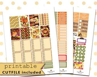 THANKSGIVING DINNER Weekly Kit/Printable Planner Stickers/Thanksgiving Planner Sticker Kit/Planner Stickers/November Stickers