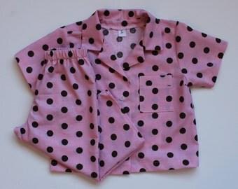 Girl's Size 1T Pink And Brown Polka Dot Pajamas