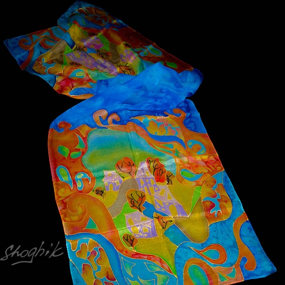 Hand Painted Silk Scarf - Batik Gift for Her - Armenian Handmade - Village in the Fantasy