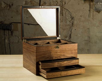 6-Watches Box with 2 drawers– Walnut & Ebony, Handcrafted, Handfinished