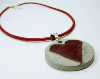 Necklace heart red concrete accessories - heart red leather - unique concrete grey jewelry on the red silk ribbon leather jewellery concrete jewelry
