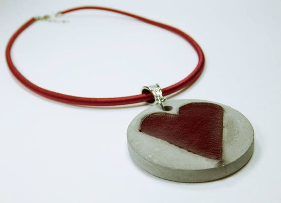 Necklace Heart in red concrete jewelry-heart of red leather-unique concrete grey jewelry on red silk ribbon leather Jewelry Concrete Jewelry