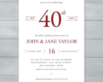 Anniversary Party Invitation  |  Wedding Anniversary Party Invitation  |  Anniversary Invite