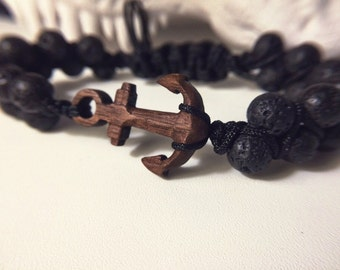 Bracelet in Tibetan style of volcanic lava stones and anchors American Walnut