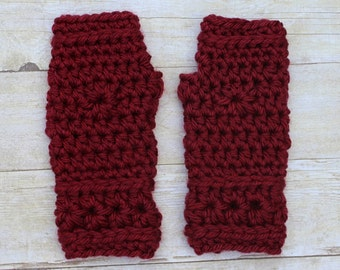 Maroon Fingerless Gloves, Maroon Mittens, Maroon Gloves, Crochet Mittens, Maroon Crochet Gloves, Maroon Wristwarmers, THE STARLING