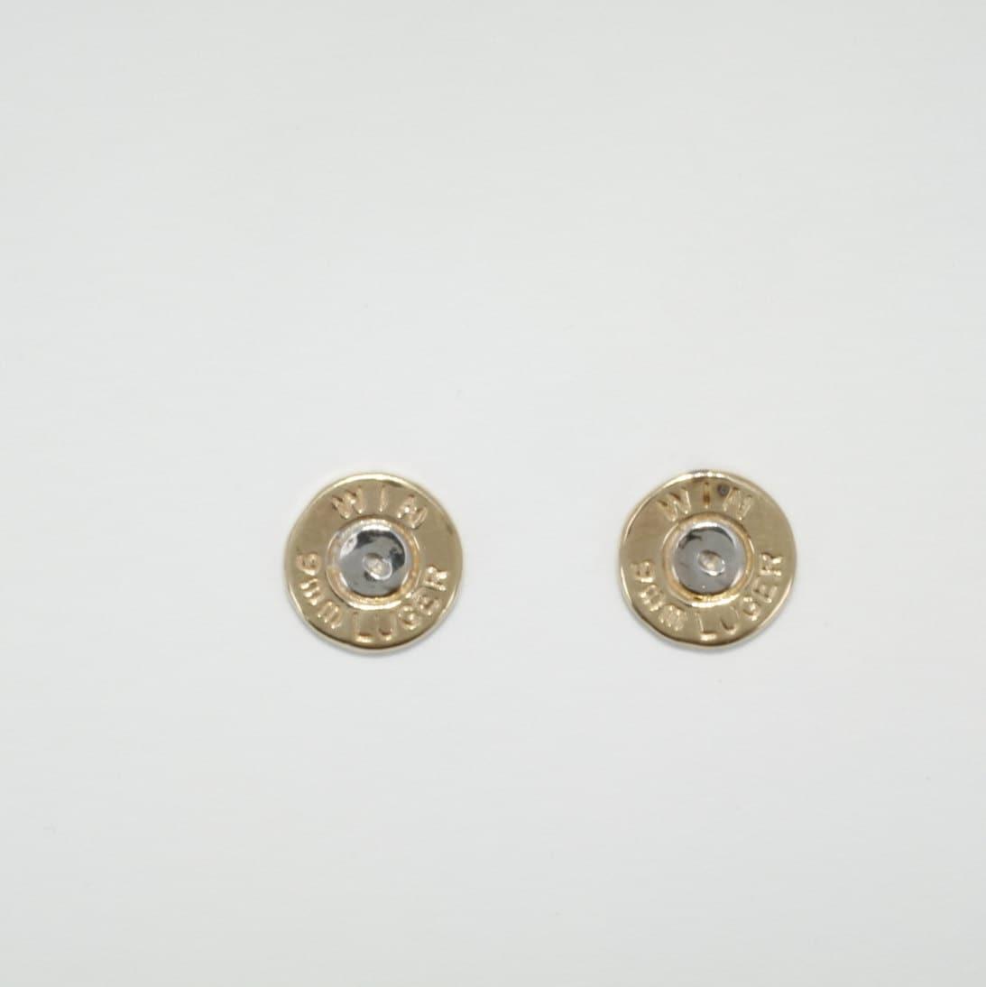 9mm bullet jewelry earrings 14kt yellow gold 9mm bullet stud