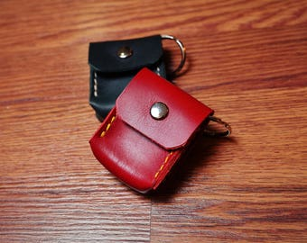 Leather coin purse keychain, coin pocket, coin holder, Handmade in the USA