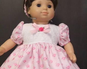 Doll clothes fit Bitty Baby or Bitty Twin; pink dress,panties and headband with pink roses