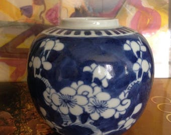 Qing Dynasty/ Kangxi Period Chinese Porcelain Ginger Jar Vase Finely Hand Painted Underglaze in Blue White Prunis Blossom Design 19c.