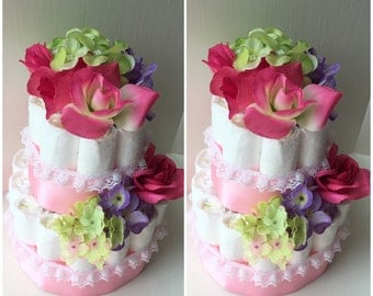 Pink, Green, and Purple Floral Diaper Cake Baby Shower Centerpieces
