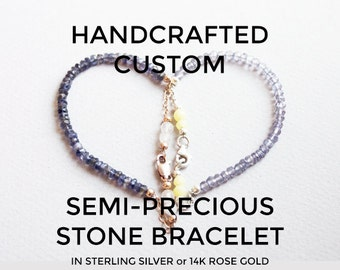 Custom Gemstone Bracelet, Personalized Healing Crystal Jewelry, Gifts for Her Under 50, Delicate Sterling Silver Rose Gold Beaded Bracelet